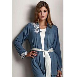 Damska bambusowa piżama CARINA ze szlafrokiem S Niebiesko-szary