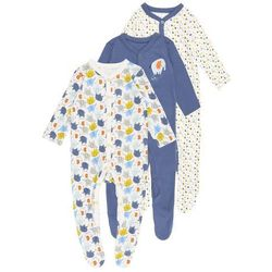 mothercare BOYS ELEPHANT SLEEPSUITS BABY 3 PACK Piżama brights multi