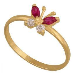 Młodzieżowy pierścionek w kształcie motylka z cyrkoniami i rubinami.(37921)