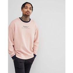 ASOS DESIGN Oversized Sweatshirt With Contrast Ringer & City Print In Pink - Pink