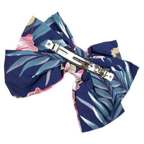 Pozostała biżuteria, Spinka do włosów kokarda granatowa kwiaty duża