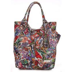 Torba Skórzana Shopper Bag VITTORIA GOTTI Made in Italy w Motyle Multikolor - Ziemista (kolory)