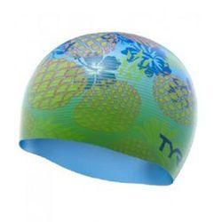 TYR CZEPEK PINEAPPLE FADE SWIM CAP SILICONE CAP BLUE-GREEN