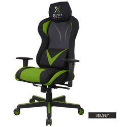 SELSEY Fotel gamingowy Regeo czarno - zielony