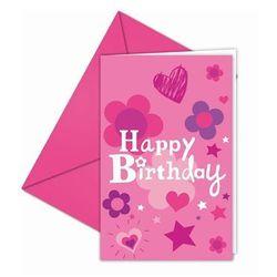 Zaproszenia urodzinowe Happy Birthday dla dziewczynki - 6 szt.