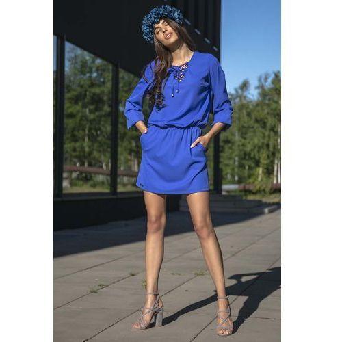 Suknie i sukienki, Chabrowa Codzienna Komfortowa Sukienka Sznurowana przy Dekolcie