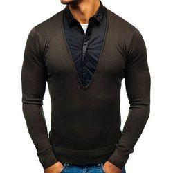 Sweter męski 2w1 z koszulą khaki Denley 88132