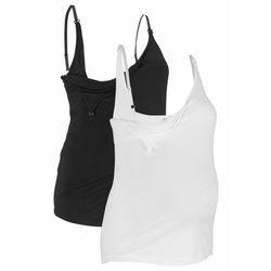 Top ciążowy i do karmienia piersią (2 szt.), bawełna organiczna bonprix czarny + biały