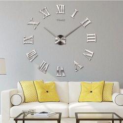 RZYMSKI srebrny duży zegar na ścianę większa niż 50 cm srebrny