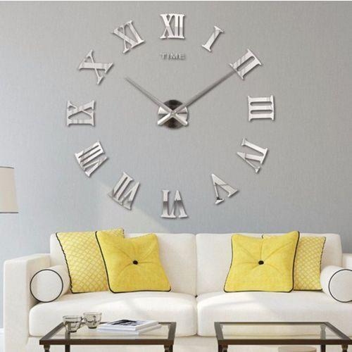 Zegary, RZYMSKI srebrny duży zegar na ścianę większa niż 50 cm srebrny