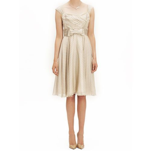 Suknie i sukienki, SUKIENKA SIMONA BEŻ (Kolor: beżowy, Rozmiar: 42)