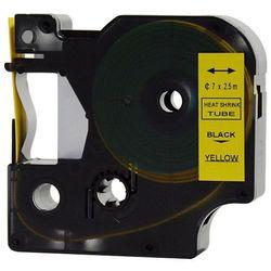Rurka (koszulka) termokurczliwa zamiennik do Dymo, średnica 7mm, szer. wydruku 12mm, dł. 2.5m, żółta, czarny nadruk RS7Y
