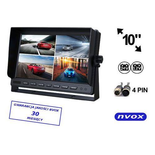 "Monitory samochodowe, NVOX HM1000 Monitor samochodowy lub wolnostojący LCD 10"" cali z obsługa do 4 kamer 4PIN 12V 24V"