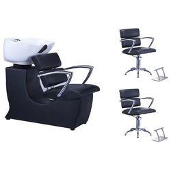 Profesjonalna Myjnia Fryzjerska + 2 x Fotel Fryzjerski OLGA + Armatura + 2 x Podnóżki Black