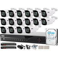 Zestawy monitoringowe, ZM13064 Zestaw monitoringu dla ochrony parkingu hali magazynu z 16x Kamera 5MP BCS-TIP5501IR-V-V + Akcesoria