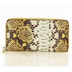Modny duży portfel z naturalnej skóry Marco Mazzini P115F Yellow Serpente - Mazzini