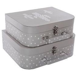 Pudełko ozdobne na drobiazgi ATOMIC HOME w kształcie walizki - 2 sztuki w komplecie, kolor szary