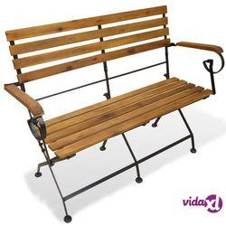 vidaXL Składana ławka ogrodowa, drewno akacjowe, 112 x 46 85 cm Darmowa wysyłka i zwroty