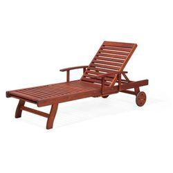 Leżak ogrodowy ciemne drewno z poduszką białą TOSCANA