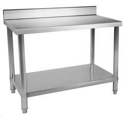 Stół roboczy - 120 x 70 cm - 143 kg - stal nierdzewna - rant