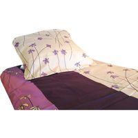 Pościel, POŚCIEL satyna bawełniana, fioletowe stokrotki