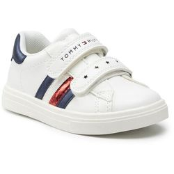 Sneakersy TOMMY HILFIGER - Low Cut Velcro Shoe T1A4-31147-0621 S White/Blue X336