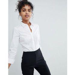 ASOS DESIGN long sleeve shirt body in stretch cotton - White
