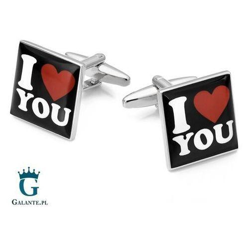 Spinki do krawatów i mankietów, Spinki do mankietów X2 I Love You Prezent na Walentynki