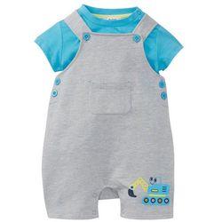 Koszulka niemowlęca + ogrodniczki dresowe (2 części), bawełna organiczna bonprix jasnoszary melanż - turkusowy