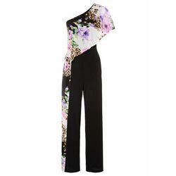 Kombinezon bonprix czarno-lila w kwiaty