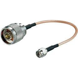 Kabel przyłączeniowy anteny WiFi Goobay, [1x złącze męskie N - 1x złącze męskie RP-SMA], 0.15 m, przezroczysty