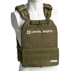 Capital Sports Battlevest 2.0, kamizelka obciążeniowa, 2 obciążniki po 4 kg, oliwkowozielona
