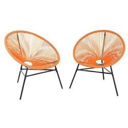Zestaw 2 krzeseł ogrodowych pomarańczowe ACAPULCO