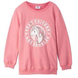 Bluza dziewczęca oversize bonprix dymny różowy z nadrukiem