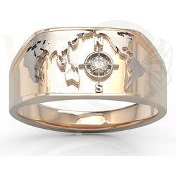 Sygnet Morski z różowego i białego złota z brylantem SJ-1406PB - Różowe i białe