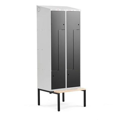 Szafki do przebieralni, Szafka ubraniowa typu Z, CLASSIC, z ławką, 2 moduły, 4 drzwi, 2290x800x550 mm, czarny
