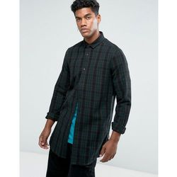 ASOS DESIGN regular fit longline check shirt with side zips in longline - Brown
