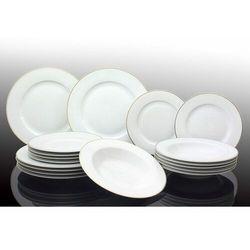 Marex Trade zestaw talerzy porcelanowych 18 szt., biały ze złotym paskiem