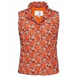 Kamizelka pikowana bonprix czerwono-pomarańczowy w kwiaty