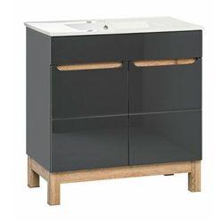 Grafitowa szafka łazienkowa z umywalką - Marsylia 2S grafit połysk 60 cm