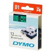 Papiery fotograficzne, DYMO Tape cassette dymo d1 12mmx7m black/green 45019