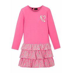Sukienka shirtowa dziewczęca z bawełny organicznej bonprix różowy flaming