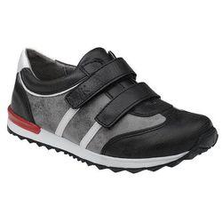 Sneakersy Półbuty KORNECKI 4912 Czarne+Szary na rzepy - Czarny ||Popielaty