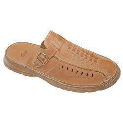 Klapki buty ŁUKBUT 954 Beżowe - Beżowy   Brązowy