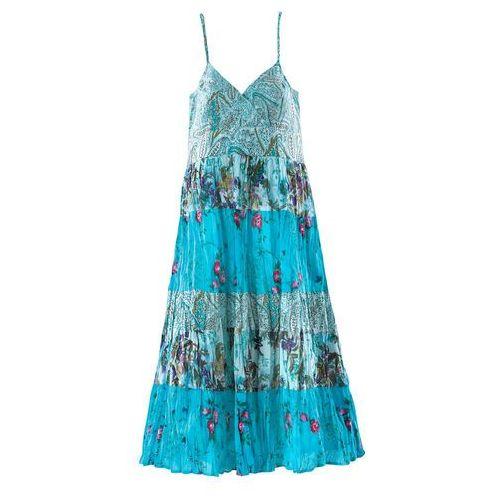 Sukienki dla dzieci, Sukienka bonprix turkusowy z nadrukiem