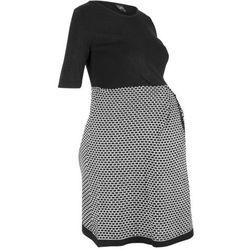 Sukienka ciążowa dzianinowa bonprix czarno-biały