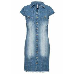 Sukienka dżinsowa mini z guzikami bonprix niebieski bleached