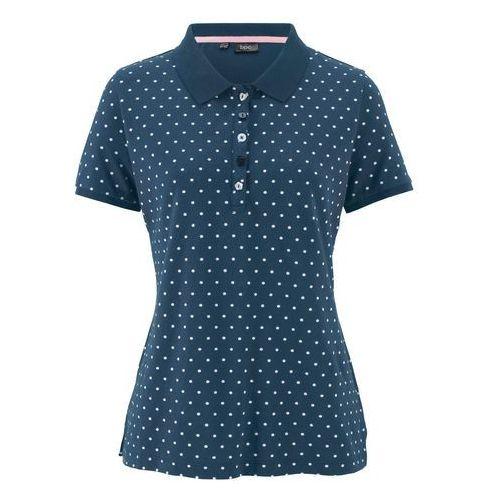 """Damskie koszulki polo, Shirt polo """"pique"""", w kropki bonprix ciemnoniebiesko-biały w kropki"""