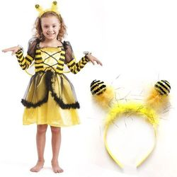 Strój Pszczółka Maja Pszczoła Kostium Skrzydła Opaska Sukienka dla dziecka 122-128cm