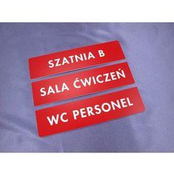 Tabliczki trzyczęściowe na drzwi lub ścianę - czerwone - wym. 20x5cm